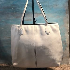 Authentic Coach white pebble leather large handbag